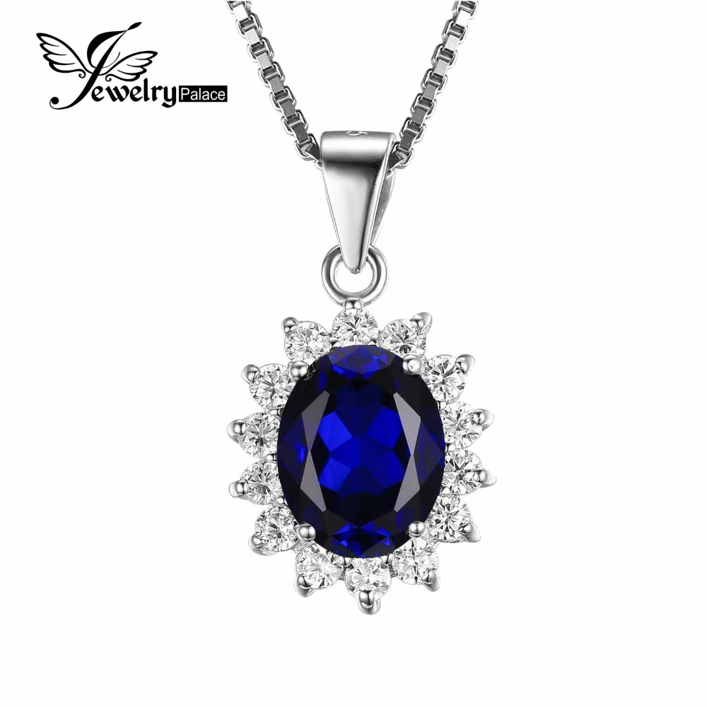 Kate Princess Diana William 2.5ct Blue Sapphire Gem Stone Wedding Pendant For Women Love Lady Set 925 Sterling Silver Jewelry(China (Mainland))