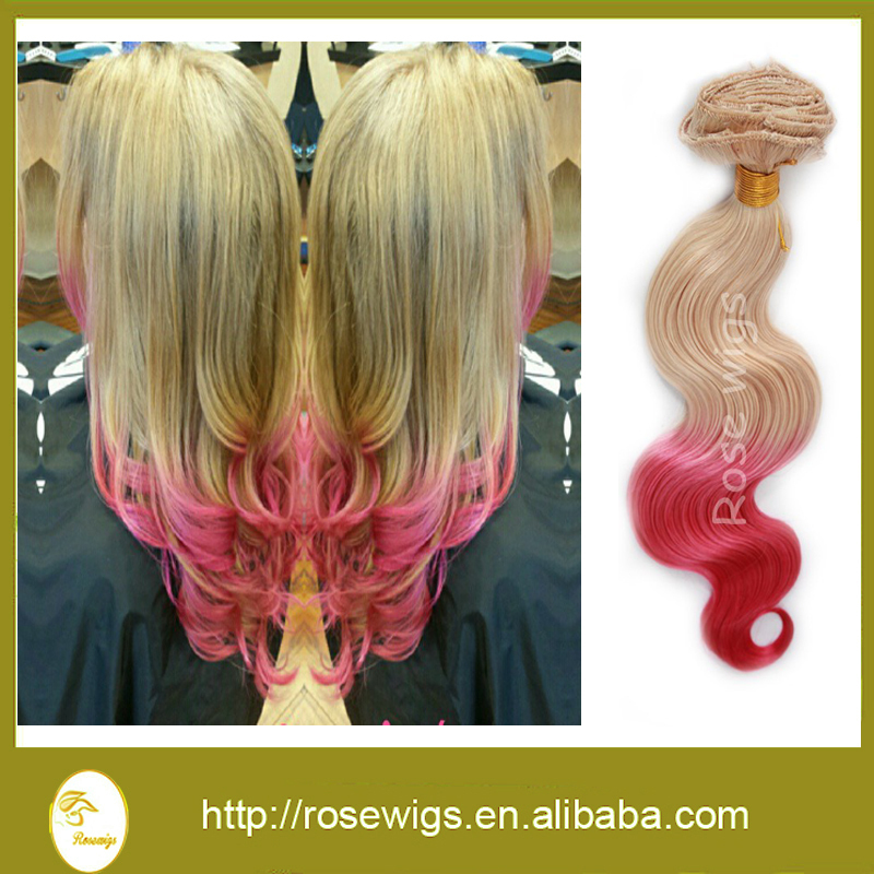 7A Top Quality  Ombre Peruvian Hair Extension 2 Tone Honey Blonde/Pink Unprocessed Peruvian Virgin Hair Body Wave 3 Bundles<br><br>Aliexpress