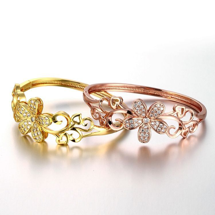 Free Shipping Petals Element Inlaid Crystal Bangle Bracelets Rose Gold Stainless Steel Hollow Out Process Bracelets For Women(China (Mainland))