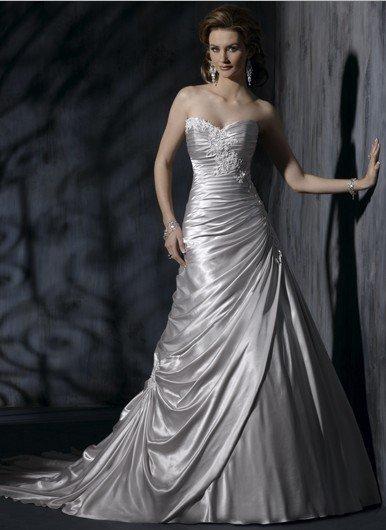 Горячая распродажа элегантный милая серебряный атласная свадебное платье свадебные ...