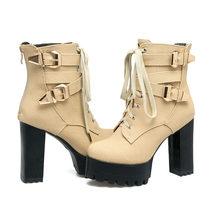 Sonbahar kış kadın çizmeler rahat bayan ayakkabı Martin çizmeler kadın Pu deri ayak bileği patik tıknaz yüksek topuklu artı boyutu 15 50(China)