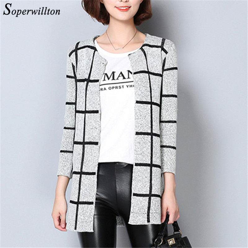 Soperwillton 2016 New Autumn Long Cardigan Women Casual Plaid Sweaters Jumpers Long Sleeve Cardigans Female 3 Pattern #C948(China (Mainland))