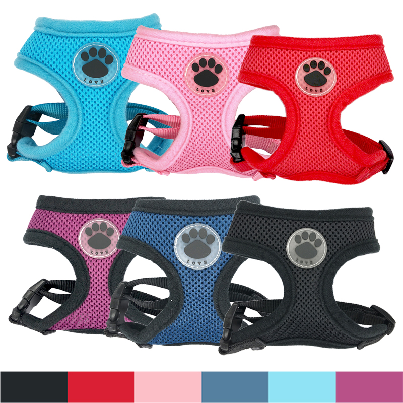 """""""LOVE"""" Paw Rubber Adjustable Soft Breathable Dog Cat Control Harness Nylon Mesh Vest harness for Pet puppy Soft Chest Strap(China (Mainland))"""