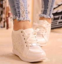 Black White Free Shipping Hidden Wedge Heels Fashion Women's Elevator Shoes Casual Shoes For Women wedge heel Rhinestone 2016