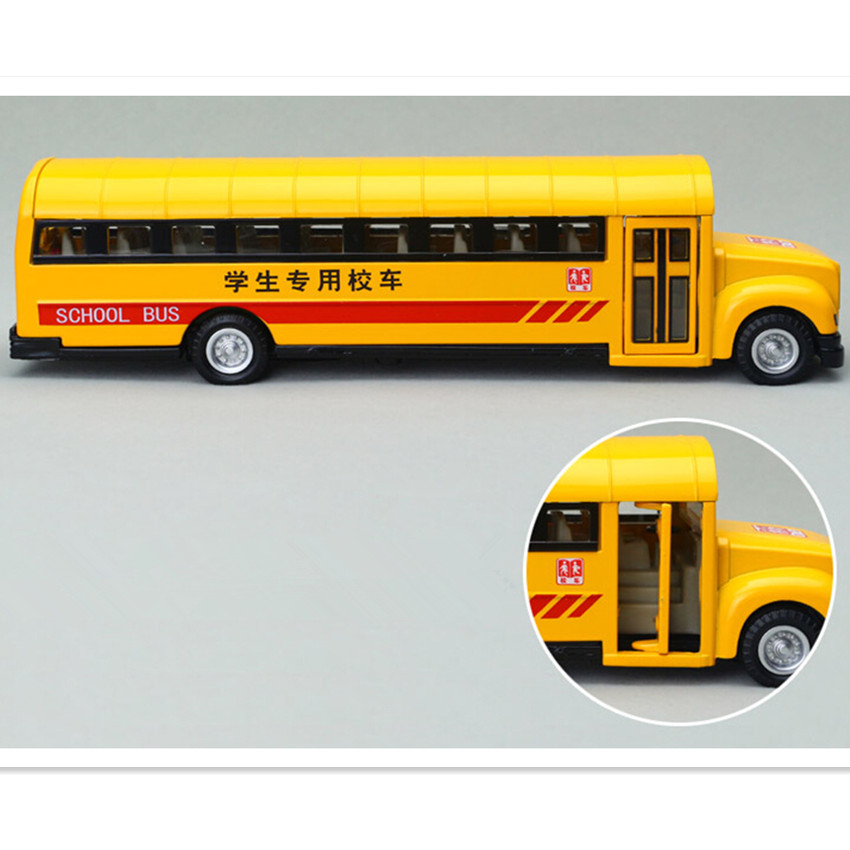 Free Shipping 2015 NEW Coming School Bus Model Toys for Boy Kid, Alloy Material Miniature Bus Children's Educational Toys(China (Mainland))