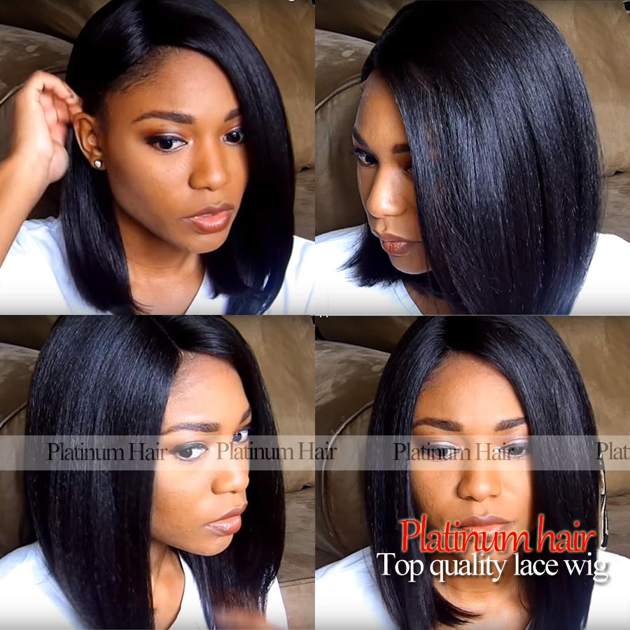 Free Shipping Yaki Straight Short Bob Wigs With Baby Hair 12 Inch Glueless Synthetic Lace Front Wig For Black Women No Shedding(China (Mainland))