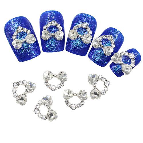 2015 Fahion 10 Pcs 3D Bowknot strass Nail Art etiqueta dicas Manicure DIY decoração