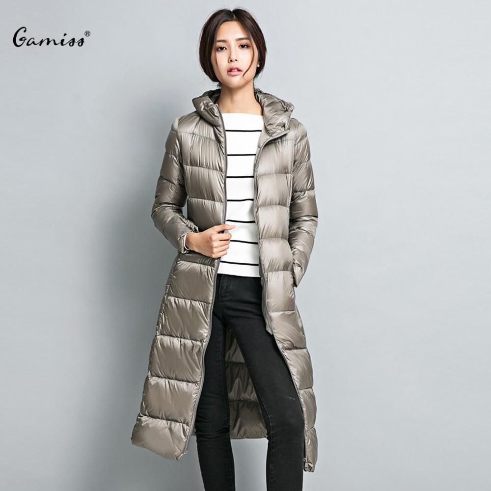 2015 Long Women Winter Jackets Coats Hooded Warm Ultra Light Duck Down Jacket Striped Slim Thin Long Sleeve Parka Zipper 1590389Одежда и ак�е��уары<br><br><br>Aliexpress