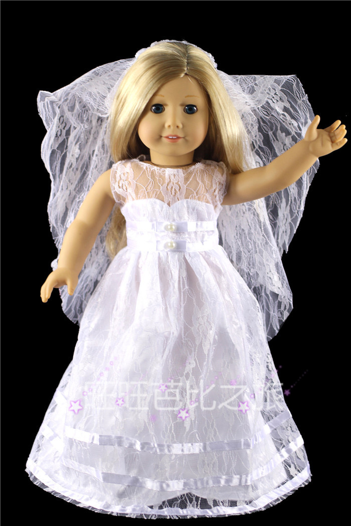 2015 time limited limited accessories girls cloth doll for American girl wedding dress