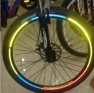 Bicycle reflective stickers mountain bike tyre reflective of rim disc stickers bicycle ride 8 colors/bag(China (Mainland))