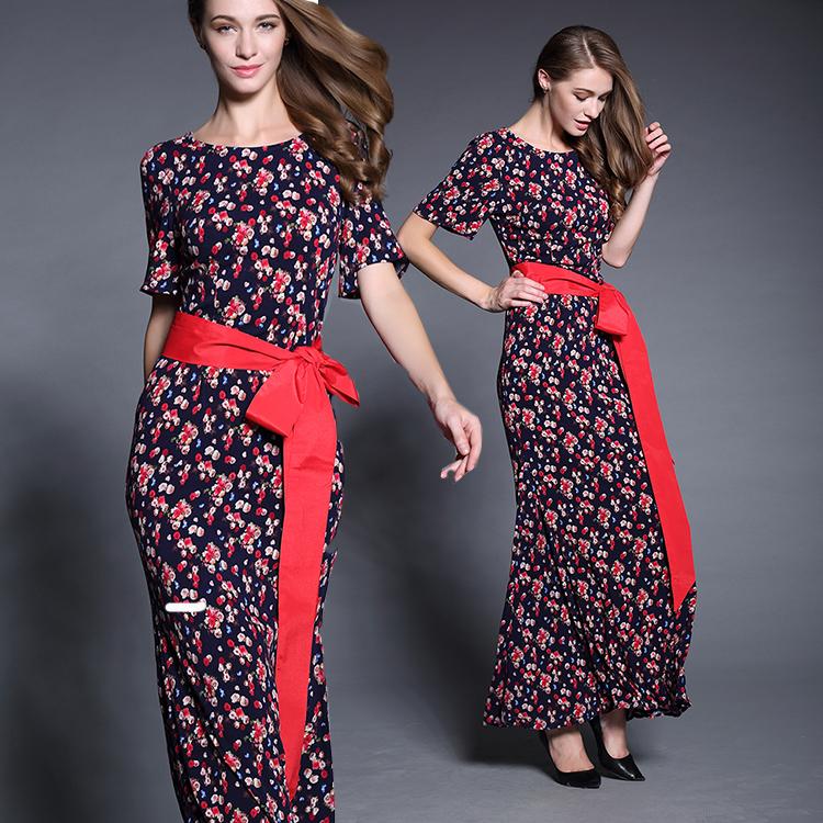 Cotton Dress 2015 Fashoin Summer Dress Brand Short Sleeve Floral Print Belt Dress Elegant Long Dresses For WomenОдежда и ак�е��уары<br><br><br>Aliexpress