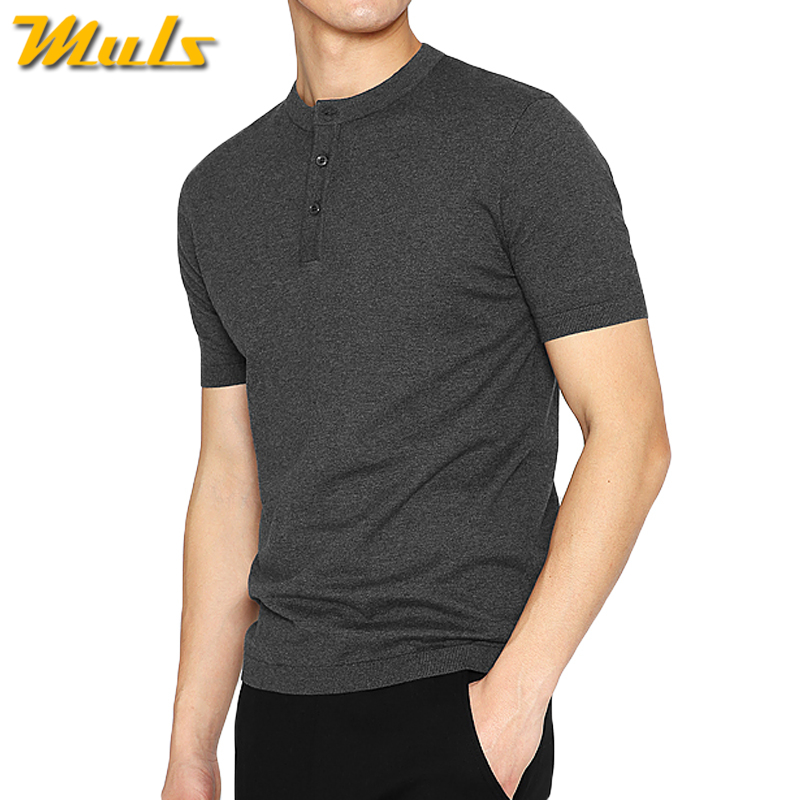 Top quality male T shirts men summer cotton knitted Henry collar men's T shirts clothing Muls Brand large size M-4XL Dark Gray(China (Mainland))