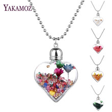 Buy Transparent Heart Glass Bottle Pendants & Necklaces Jewelry Rhinestone Big Dried Flower Wish Bottle Lovers Long Necklaces 2017 for $1.43 in AliExpress store
