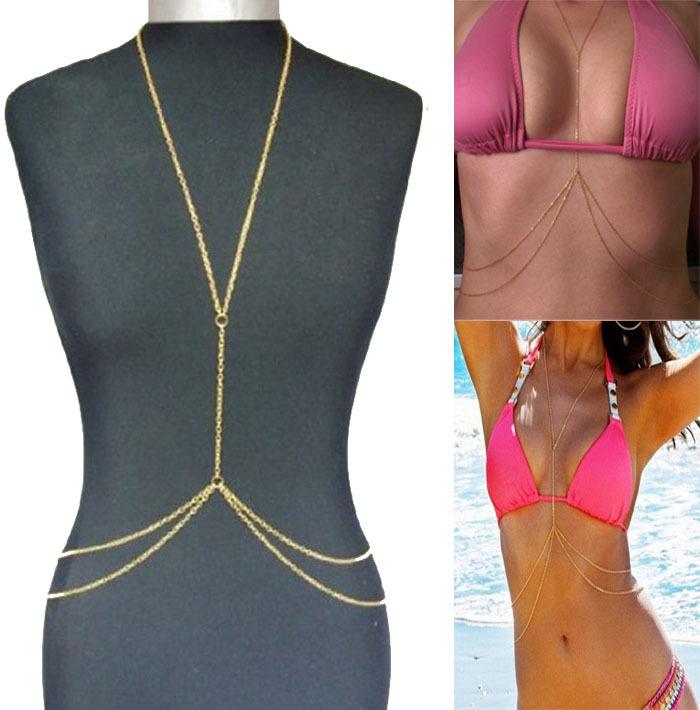 Hot Sale Bikini Crossover Harness Necklace Waist Belt Unibody Body Chain Gold Free Shipping Puscard(China (Mainland))