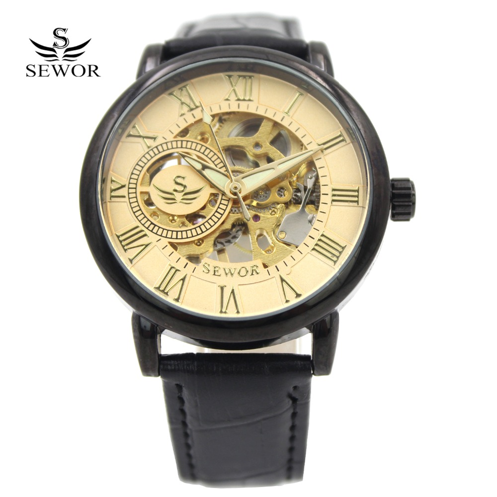 SEWOR Brand 2016 Antique Mechanical hand wind Luminous Skeleton Black Leather Transparent Back Men wrist watches(China (Mainland))