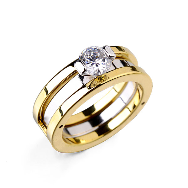 2015 Hot sale Free Shipping Luxury 18K Gold Plated Austria Crystal Wedding Rings Steel Brand name ring free shipping(China (Mainland))