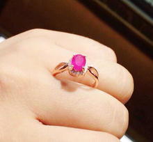 100 Natural Ruby gem stone ring real 925 sterling silver woman jewerly rose gold plated imitation