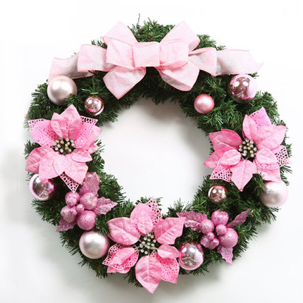 50cm Korean Style Luxury Pink Christmas Wreath Fashion Christmas Ornament Door Decoration Enfeite De Natal(China (Mainland))