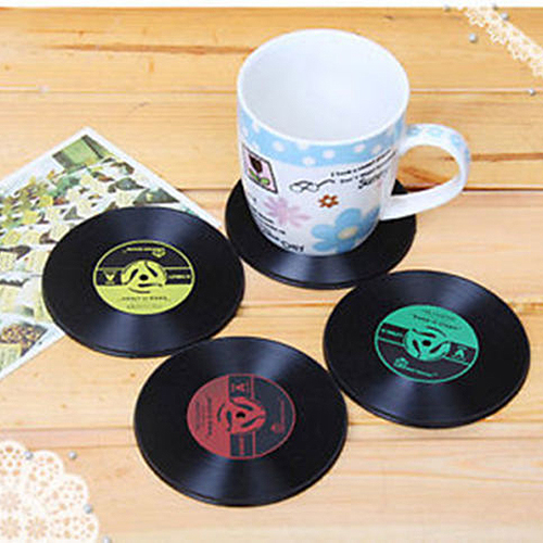 Boutique 6pcs Cup Mats Vintage Vinyl Coasters CD Record Table Bar Drinks(China (Mainland))