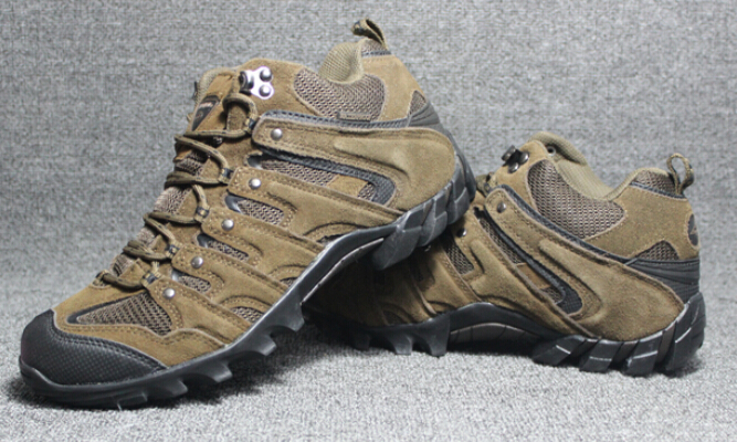 Men women outdoor hiking shoes brand nubuck genuine leather waterproof ankle sock women hiking boots men walking shoes