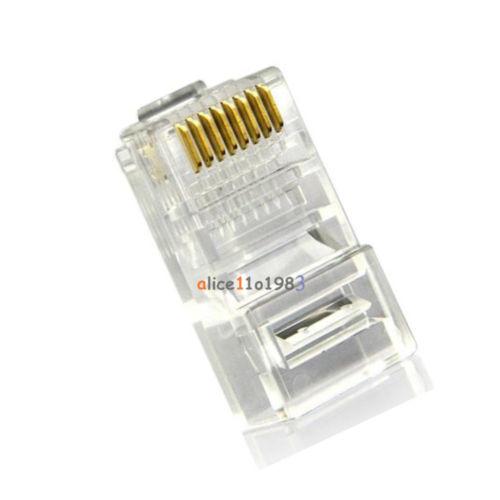 10Pcs Practical Internet Gold Plated Cable Modular Plug Adapter RJ45 8P8C CAT5E(China (Mainland))