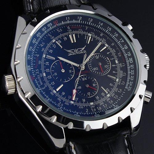 Luxury Automatic Mechanical 6 Hands Day Date Black Leather Bezel Rotate Aviator Pilot Military Watch men free ship(China (Mainland))
