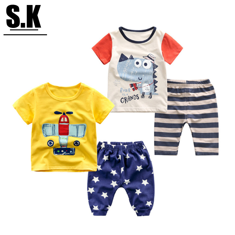 Sunshine Kid Brand Kids Outwear Colorful Children Clothing Suit 2016 Summer Boys Printing Clothing Sets Clothes For Boys(China (Mainland))