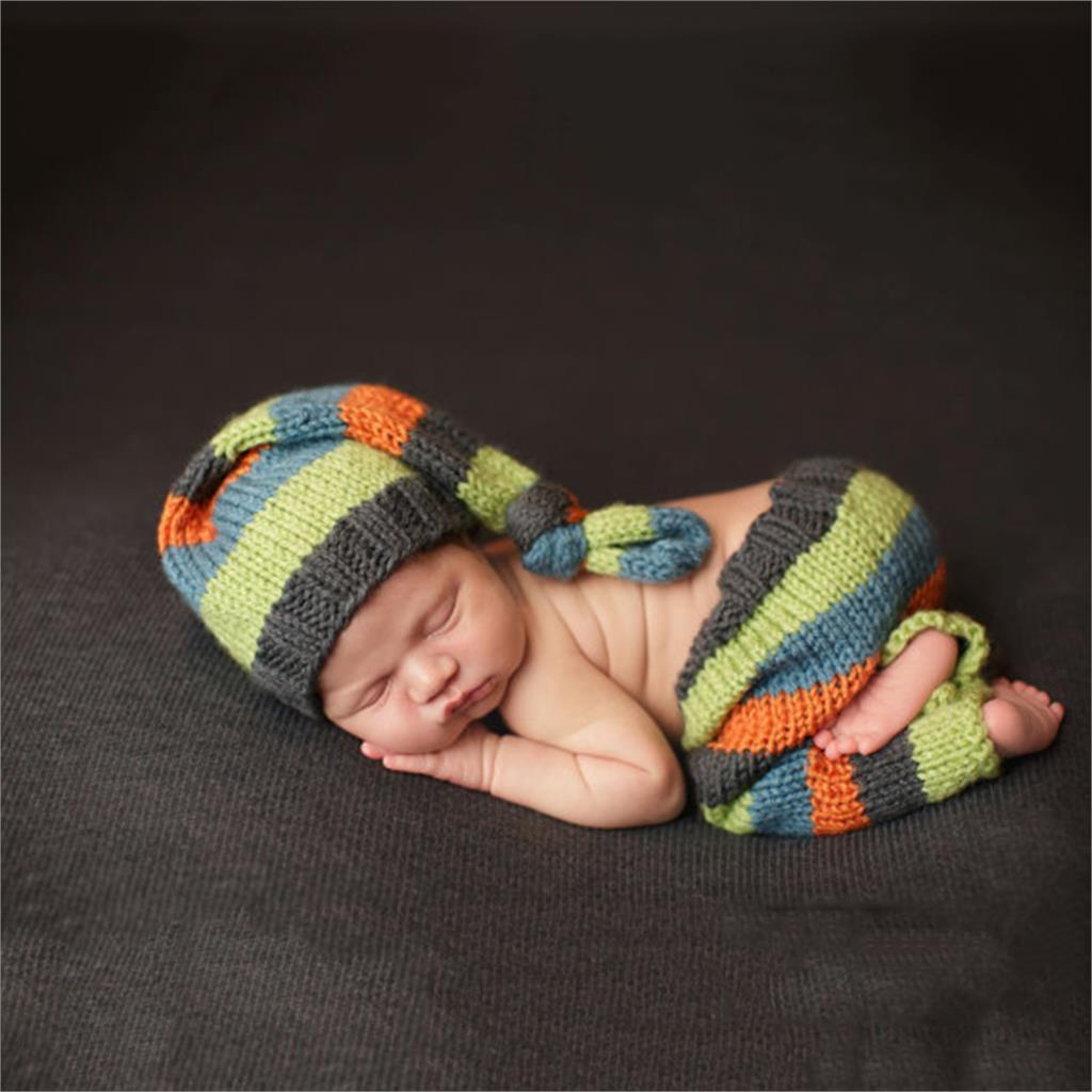 Handmade Knitting Hat Newborn Baby Photography Props Colorful Striped Cap Pants For 0-3Months Baby Boy Girl<br><br>Aliexpress