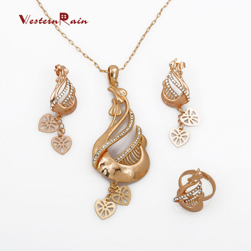 WesternRain 24k Yellow Gold Necklace& Earrings Sets, Vintage Designer New Coming Wedding Accessories Jewellery Sets G601(China (Mainland))