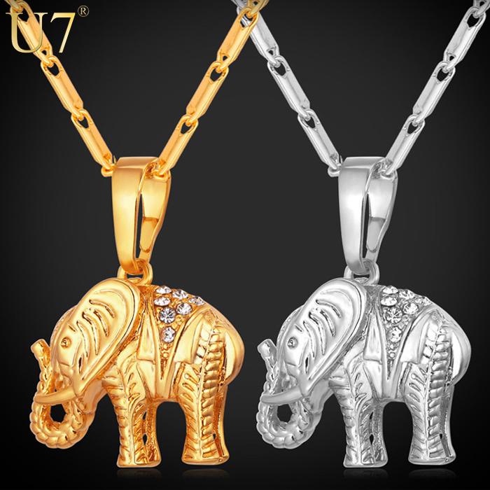 Lucky Gold Elephant Necklace Trendy 18K Gold/Platinum Plated Rhinestone Crystal Animal Pendant Necklace Women Gift P563(China (Mainland))