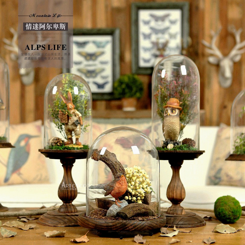 Europe and the French countryside with wooden base and transparent glass ornaments creative crafts decorative landscaping provid(China (Mainland))