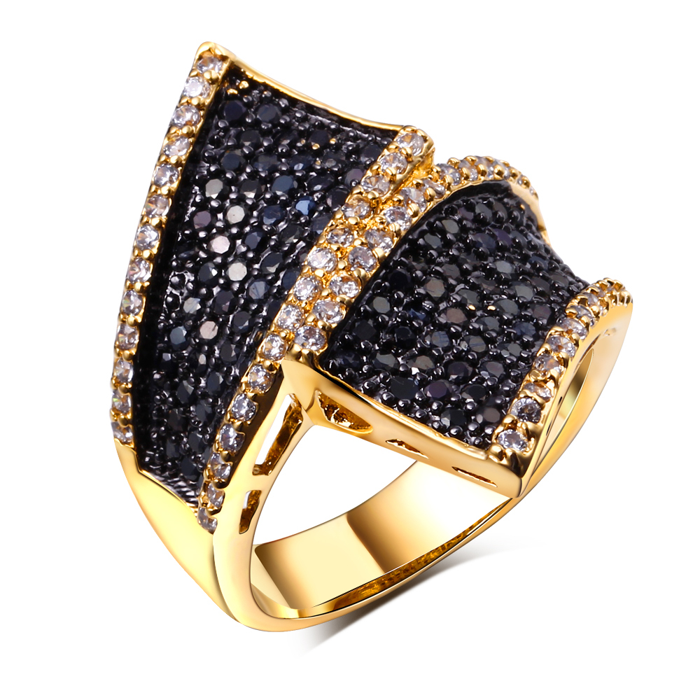 Fashion Secret 18K Gold plated Black & White Wave Design Women Deluxe Hand Made Party Rings Shiny Cubic Zirconia Setting(China (Mainland))