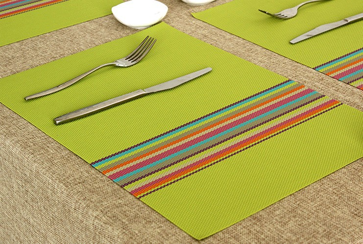 2014 Limited Top Fasion Freeshipping Orange Modern 4pcs Colorful Line Plastic Placemats Skid Resistance Insulation Table Mats(China (Mainland))