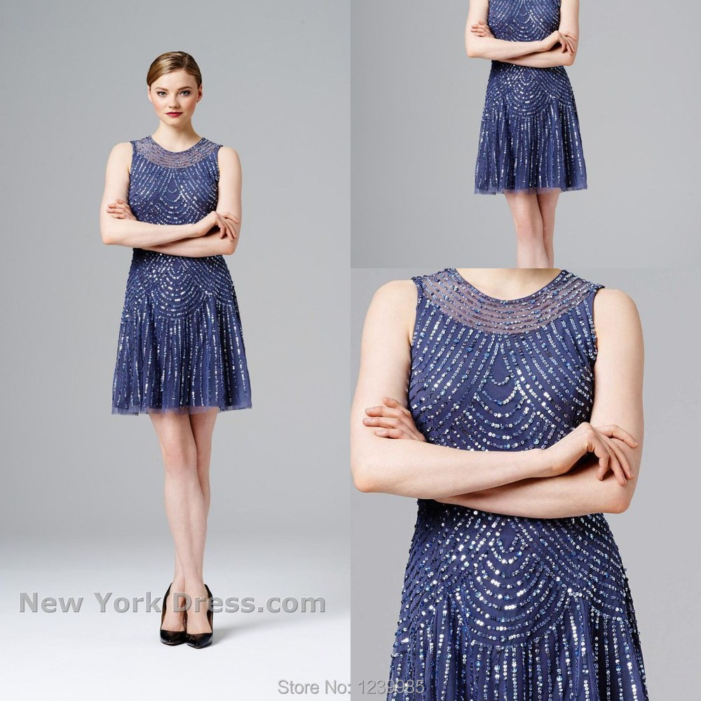 Aidan Mattox Blue Sequin Dress - RP Dress