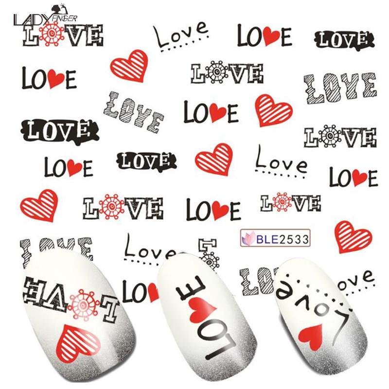 Lady Finger 1xGlitter Shinning Nail Art Sticker Water Transfer Temporary Tattoos Fashion Romantic LOVE Designs DIY BLE2533(China (Mainland))