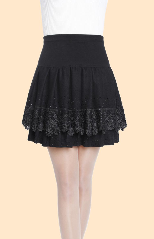 skirts knee length skirt elastic waist casual woolen