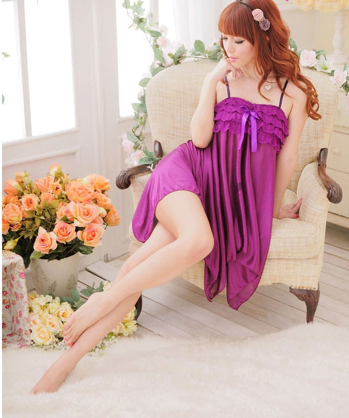 Sexy black/purple plus size Lingerie hot S/M/L/XL Sleepwear Dress+G-STRING Sleepwear,Underwear Kimono Costume pyjamas women