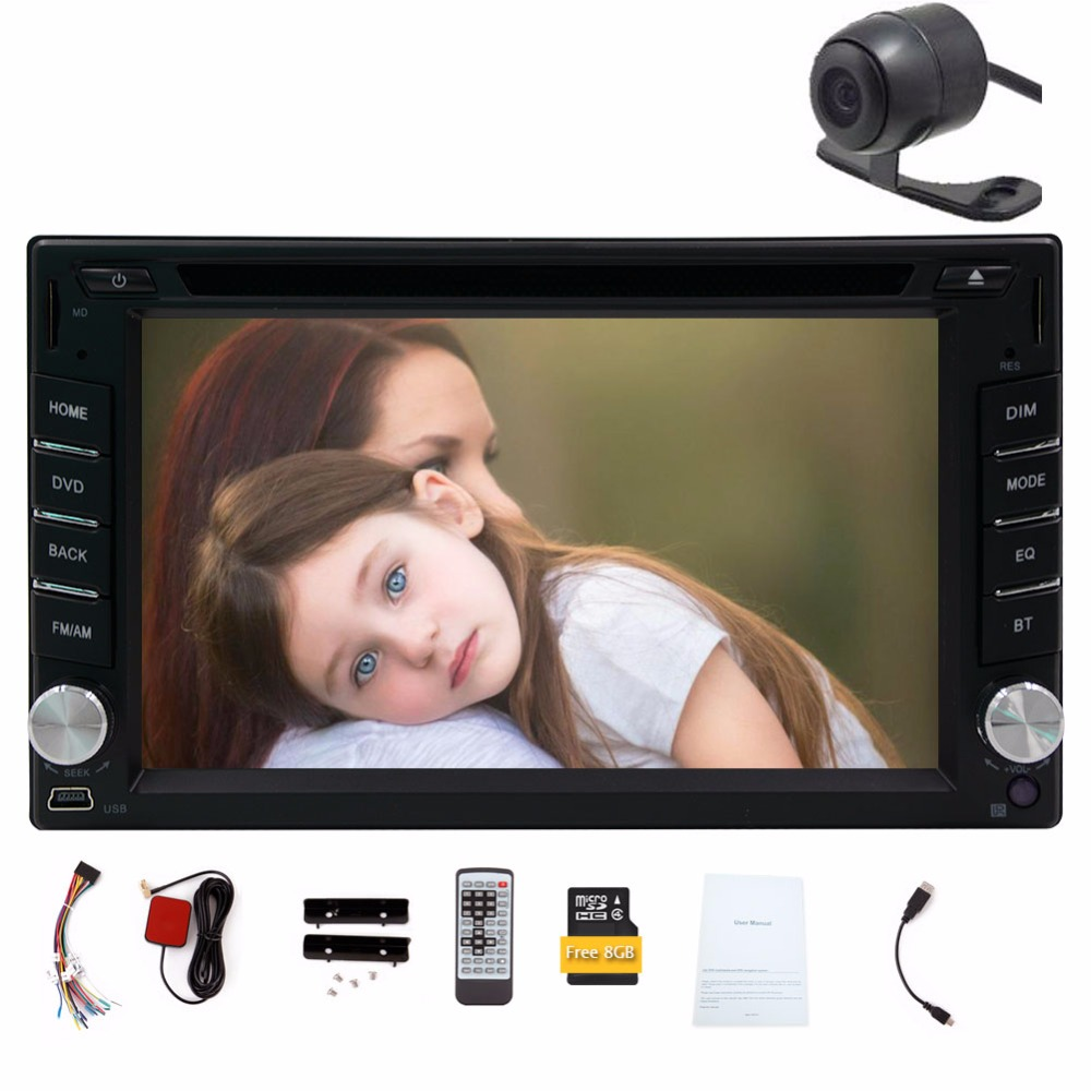 Double 2 Din 6.2inch Touch Screen Car DVD Player GPS Navigation Auto Car Stereo Bluetooth Car Radio Player+Camera+Free Map Card(China (Mainland))