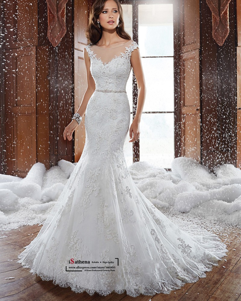 Fashionable lace mermaid wedding dress see through back for Lace button back wedding dress