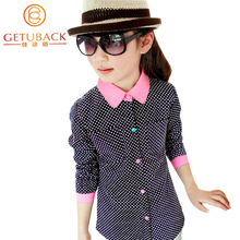 2015 New Kids Polka Dot Shirts for Girls Spring & Autumn Trench Children Cotton Shirts Top Quality Girl Blouse Outerwear, HC283(China (Mainland))