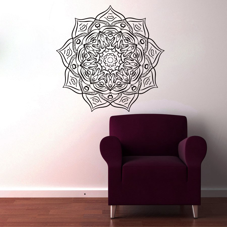 Indian Religious Mandala Art Wall Sticker Vinyl Removable Flower Home Decor Hollow Out Decals Living Room Decoration Poster(China (Mainland))