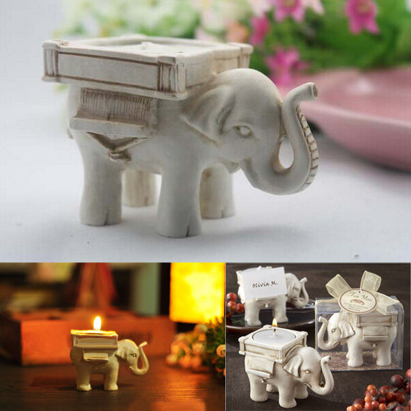 Fashion Style and High Quality Resin Ivory Lucky Elephant Tea Light Candle Holder Wedding Party Home Decoration Gift Durable(China (Mainland))