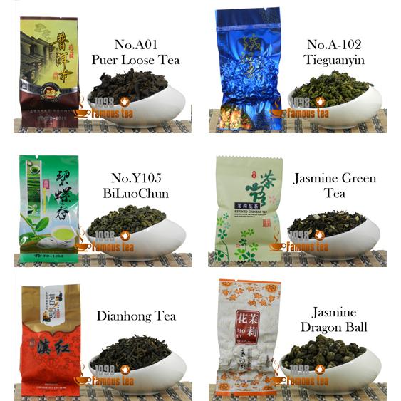6 Kinds of different Tea Special flavors Puer+Tieguanyin+Biluochun+Jasmine Green Tea+Dinahong+Jasmine Dragon Ball Free Shipping