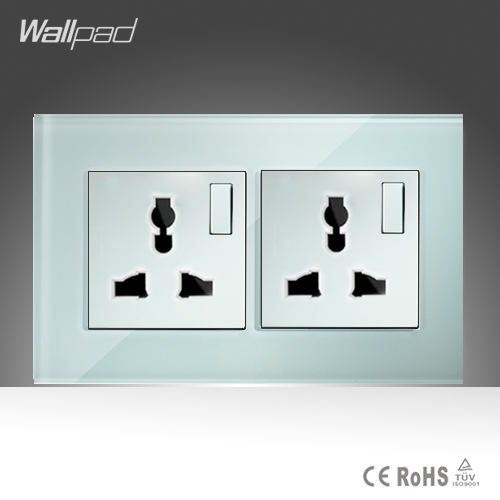 Double 1 Gang 2 way Universal Sokcet Wallpad White Glass Manual Button Switch and 10A Universal Switched Socket Free Shipping<br><br>Aliexpress