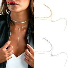 Buy COCOTINA Hot Female Chains Necklaces Multilayer Alloy Hand Chain Necklace New Sequined Collar Bone Chain Women's Jewerly D02281 for $1.94 in AliExpress store