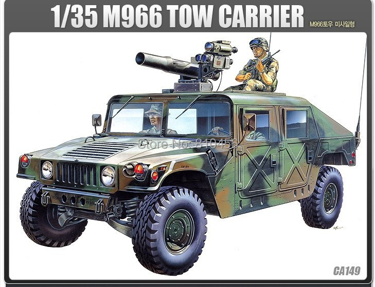 1/35 scale American M-966 Hummer jeep Artillery armored vehicle Armoured Howitzer Assembled model toy Tow missile carrier(China (Mainland))