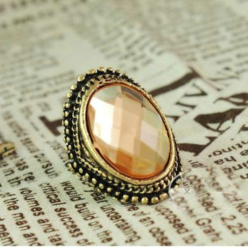 Free shipping 50pcs top quality gold plated Exaggerated personality light brown big crystal rings women punk antique fashion hot<br><br>Aliexpress