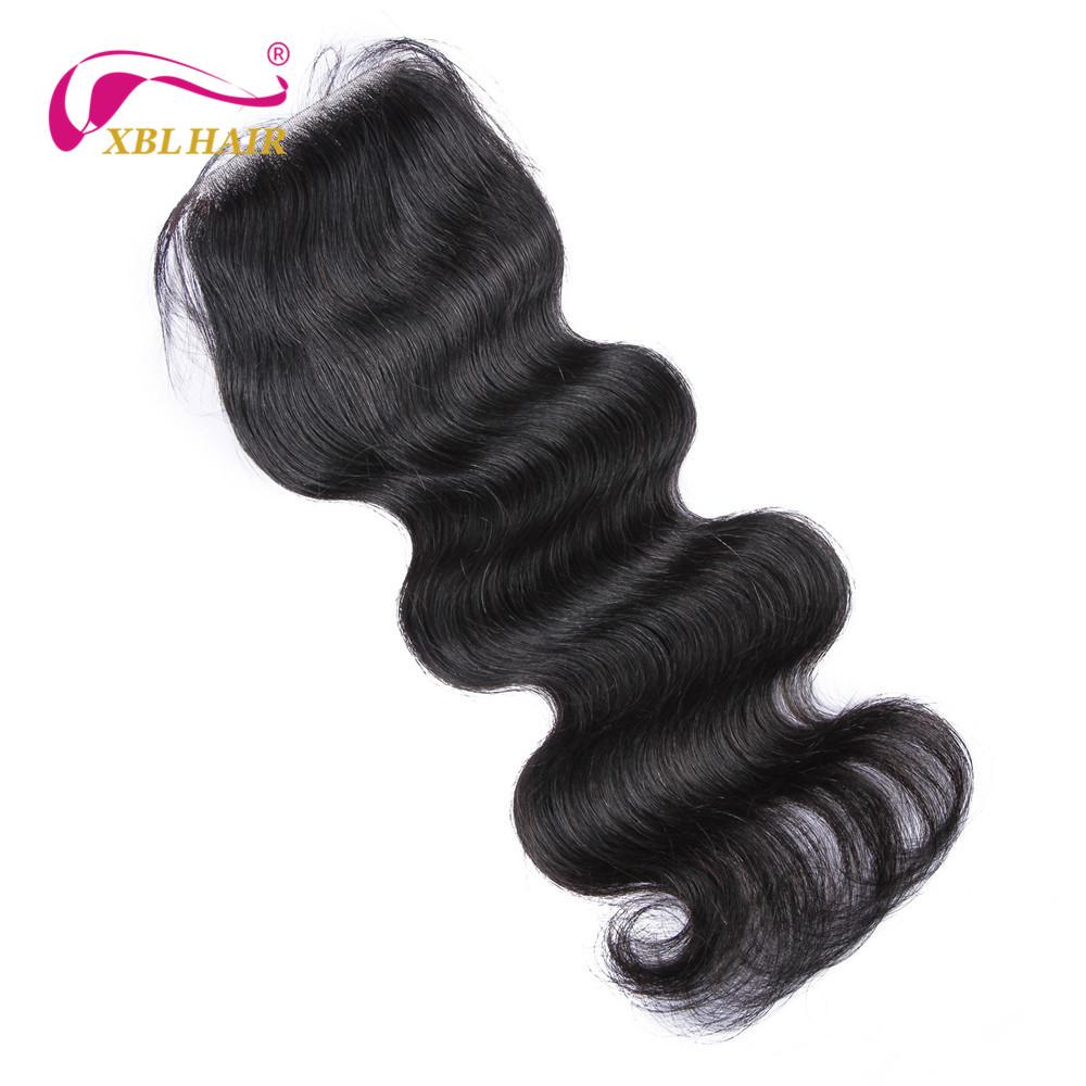 XBL HAIR Body Wave Peruvian Remy Human Hair Free Part Lace Closure 4*4 Free Shipping