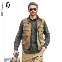 Men's Sleeveless Jacket Casual Coat Cotton Brand Winter Waistcoat cotton sides director of journalist photographer vest jacket(China (Mainland))