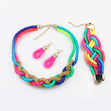 2016 Women Hot Sale New Arrival Jewelry Sets Se 83 In Europe And America Street Beat Exaggeration Fluorescent Color Knitting